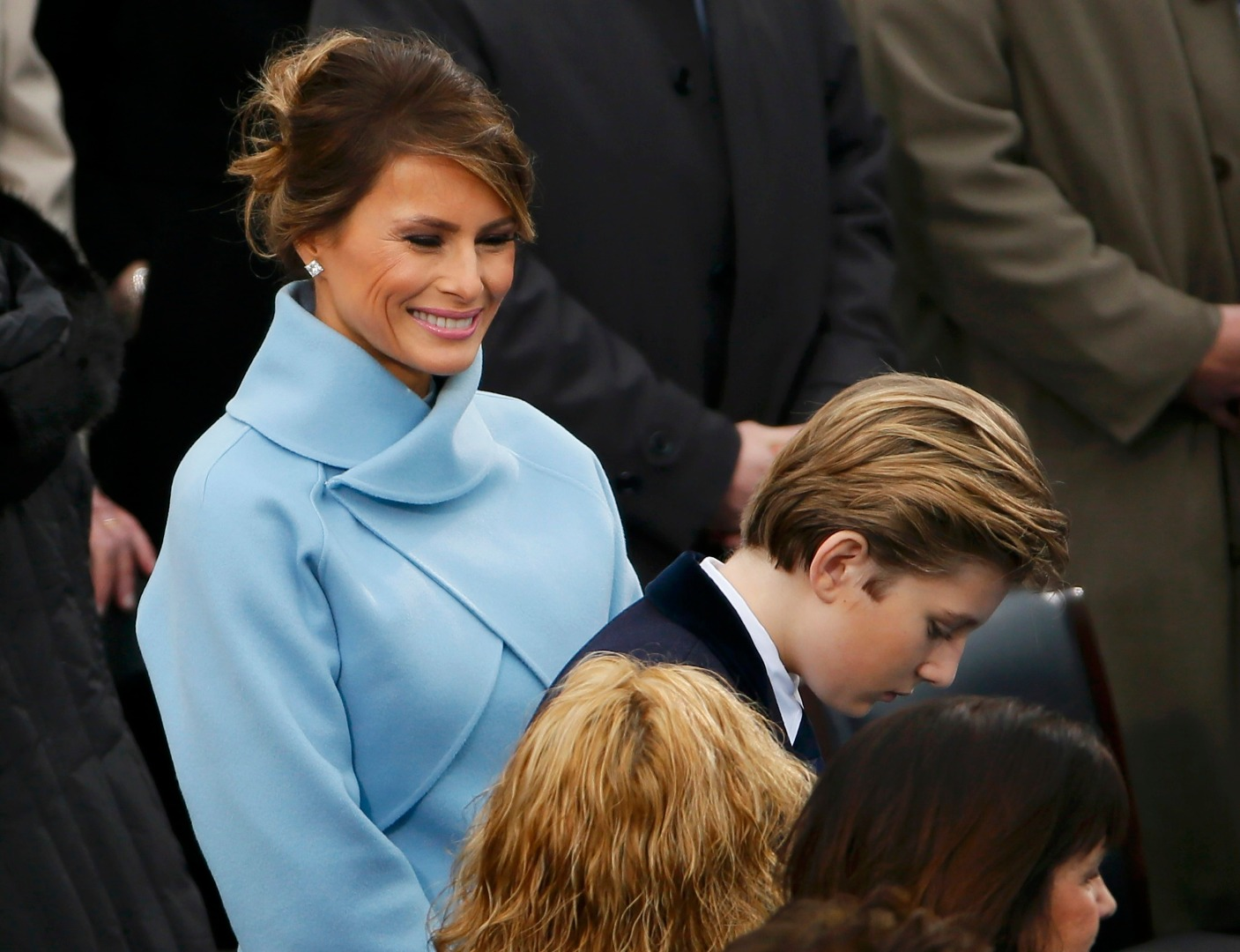 First lady Melania Trump looks at her son Barron after her husband Donald J Trump was sworn-in on the West front of the U.S. Capitol in Washington